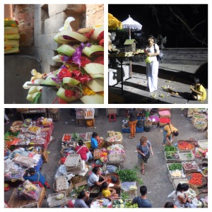 Top left: Balinese Hindu offering   Top right:  Wayan and her youngest son giving prayers and offerings outside the temple  Bottom: aerial of street market in ubud