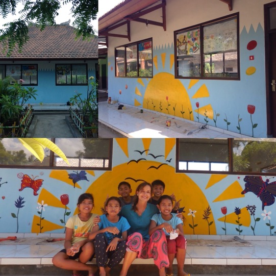 Me and five students from B3 class after working on the mural
